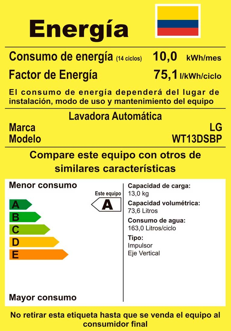 Lavadora LG Smart Inverter CS 13 Kg WT13DSBP Silver