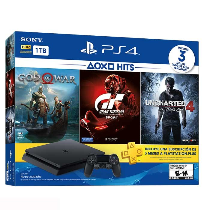 Consola Ps4 Hits V3 Slim 1 Tera 1 Control 3 Juegos Plus 3 Meses