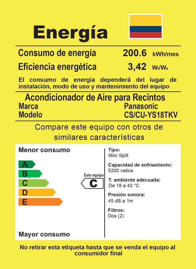 Aire acondicionado panasonic 18000btu inverter 220v blanco for Cuanto gasta un aire acondicionado