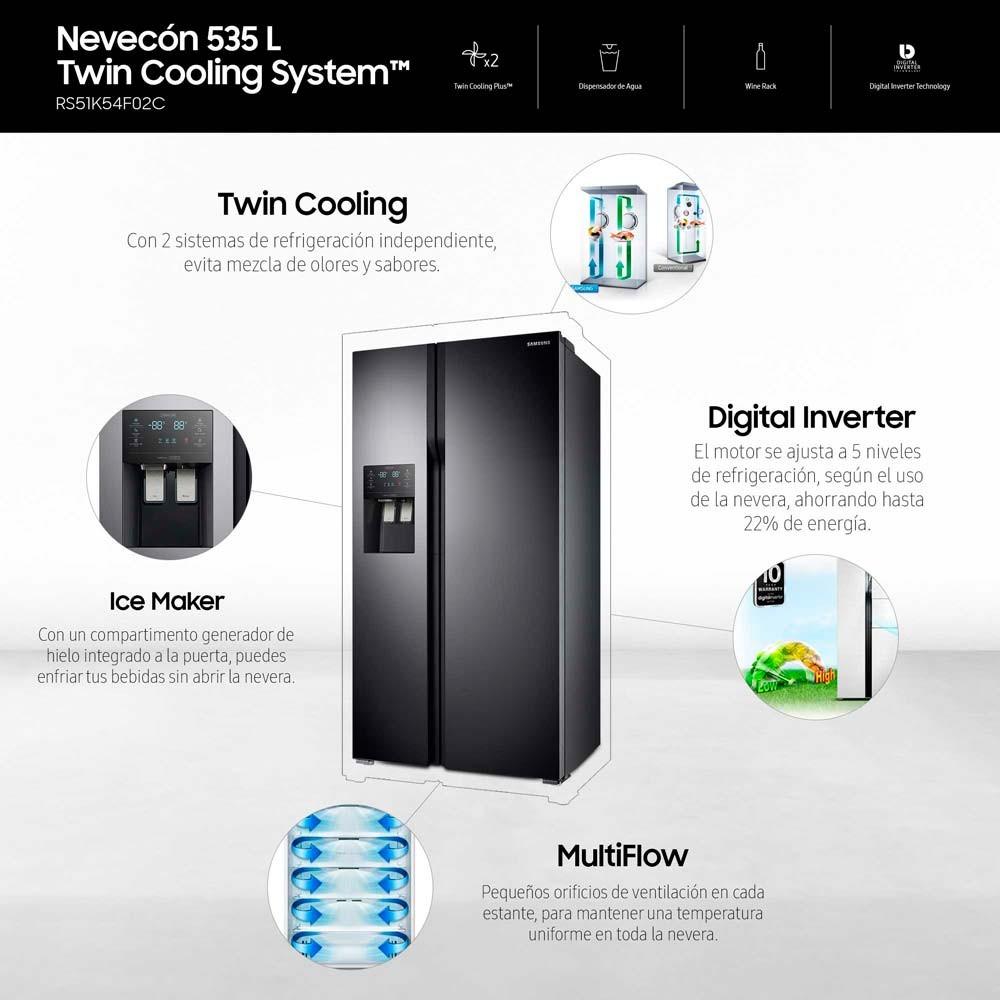 Nevecón SAMSUNG 535 Lt RS51K54F02 Negro Alkosto Tienda Online 3afd7f1e7198