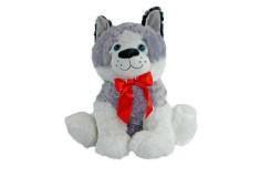 Perro de Peluche Husky Sentado con Corbata Roja