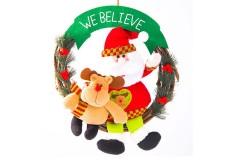 NAVIDAD Corona de Santa Claus con Reno de 16.5 cm