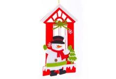 NAVIDAD Colgante plano de Casa y Muñeco de nieve de 8 cm