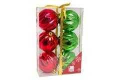 NAVIDAD Set de 6 Esferas Rojas/Verdes Decoradas de 6 cm