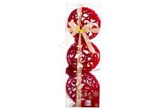 NAVIDAD Set x 3 Adornos Colgantes Rojos de 7.5 cm
