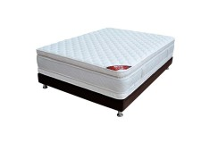 KOMBO SPRING: Colchón Resortado King Descanso Perfecto 200 x 200 cm + Base Cama Salin Dividida