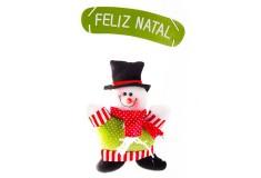 NAVIDAD Muñeco de Nieve con Letrero Feliz Navidad de 11cm