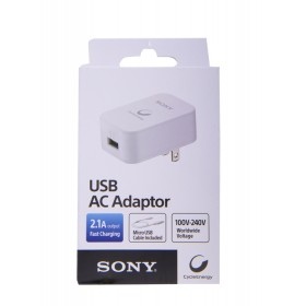 Cargador de Pared - SONY -  USB - 2.1V -USB - AC Adaptador - Blanco