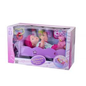 """Muñeca bebé hora de dormir con cuna Gigo Toys Dream Collection 14"""" Rosada"""