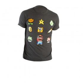 Camiseta Gris NINTENDO Iconos Talla M