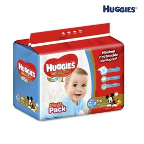 Pañales HUGGIES Natural Care Niño G x 120 Und.