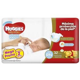 Pañales HUGGIES Natural Care Recién Nacido Pague 30 Lleve 32