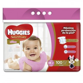 Pañales HUGGIES Natural Care Niña M x 100 Und.