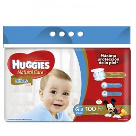 Pañal HUGGIES Natural Care Niño G x 100 Und.