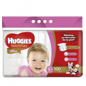 Pañales HUGGIES Natural Care Niña G x 100 Und.