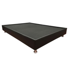 Base Cama Doble 140 x 190 cm TUKASA Ecocuero Borde Negra