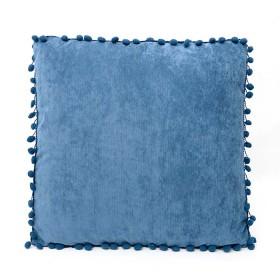 Cojín K-LINE Velvet Azul Pompones
