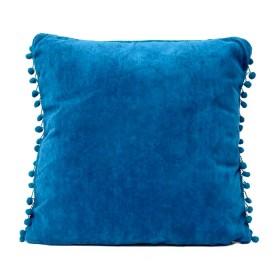 Cojín K-LINE Velvet Azul Medio Pompones