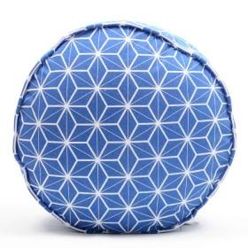 Cojín Puff K-LINE Geométrico Redondo Azul/Blanco