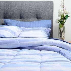 Comforter + Cubrecama K-LINE Sencillo Disper Azul