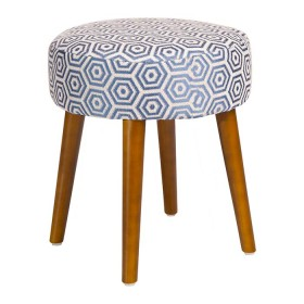Puff de madera TUKASA Tela Azul diseño