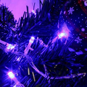 Luz Navideña En Bolsa X 92 Led. Azul Cable Blanco