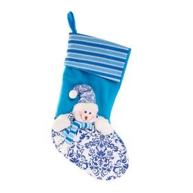 NAVIDAD Bota Muñeco de Nieve de 18.5 cm Azul