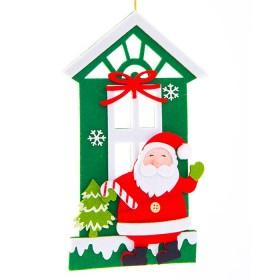 Colgante plano de Casa y Santa Claus de 11 cm