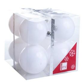 NAVIDAD Set x 8 Esferas Blancas de 8 cm