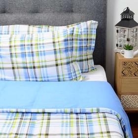 Duvet FREE HOME Doble y/o Extradoble Cuadros Azul/Verde