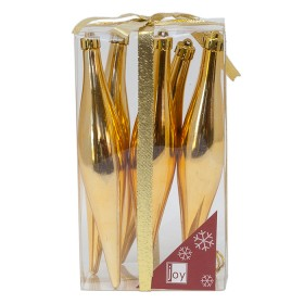 NAVIDAD Set x 6 Adornos Colgantes Dorados de 15 cm