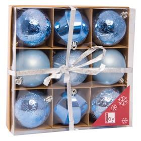 Set de 9 Esferas Decoradas Azules de 8 cm