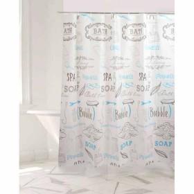Cortina de Baño FREEHOME Estampado Frases 180 x 180 cm Blanco/Azul