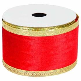 Rollo Cinta Rojo Con Borde Oro 6 Cms. X 4.5 Metros