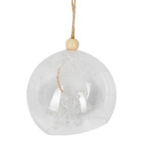 Esfera Plastico Copos De Nieve Navidad En El Bosque
