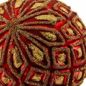 Ornamento Cristal Oro Y Rojo