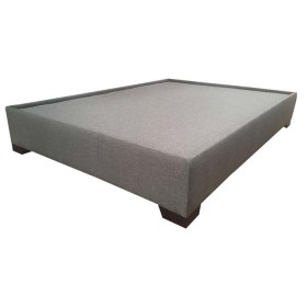 Base Cama Semidoble 124 x 194 x 32 cm TUKASA Tela Borde triada Gris