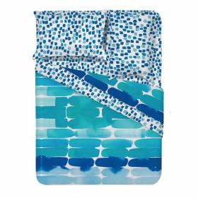 Juego de Cama Doble K-LINE Brushstrokes Azul 180 Hilos