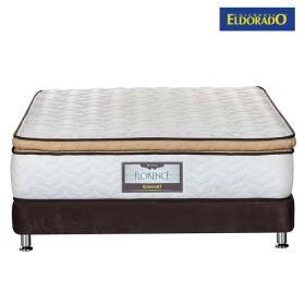 KOMBO ELDORADO: Colchón Semidoble Florence 120x190 cms Resortado + Base Cama Nova Chocolate