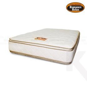 Colchon de espuma Jade doble 140x190x28 cms blanco sesgos en contraste café pillow x ambos lados