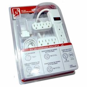 Kit Toma 6 Salidas + Cable Ext 1.5 Mts + Adapt de Pared 3 Salidas + Adapt de Pared 6 Salidas + luz de noche