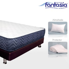KOMBO FANTASÍA: Colchón Doble Blue Lexus + Base cama + Protector  + Almohadas 140x190 cms