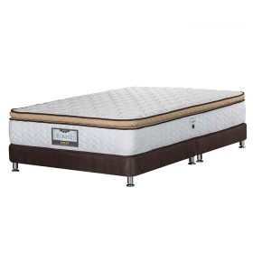 KOMBO ELDORADO: Colchón King Florence 200x200 cms Resortado + Base Cama Nova Chocolate