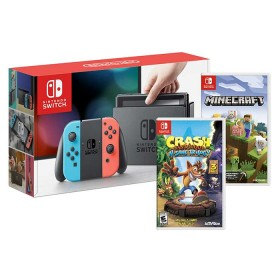 Consola NINTENDO SWITCH Neon  Blue + Juego Crash + Juego Minecraft