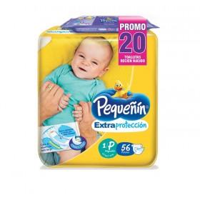 Pañal PEQUEÑÍN Extra/Protección Etapa 1 x 56 + Toallas x 20