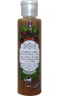 Shampoo con extracto de Cacao, Romero, Gingko Biloba y Té Verde. 60ml