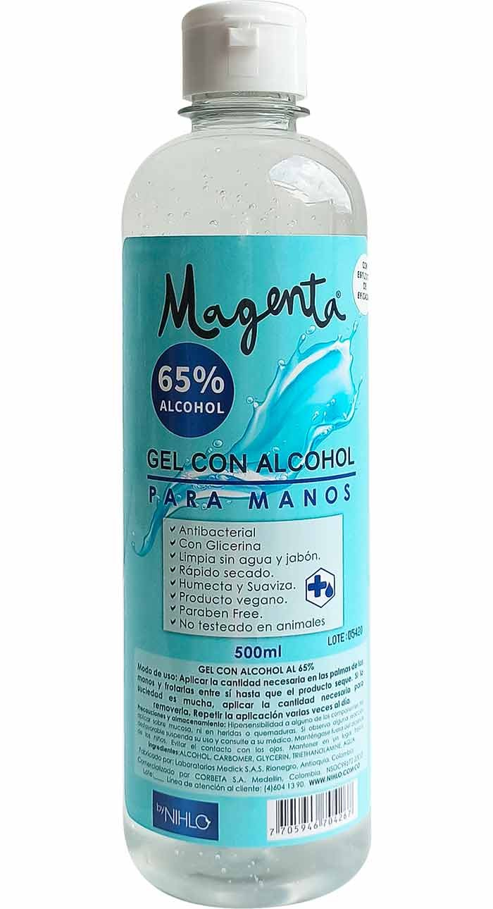 Antibacterial en gel 65% alcohol 500 ml