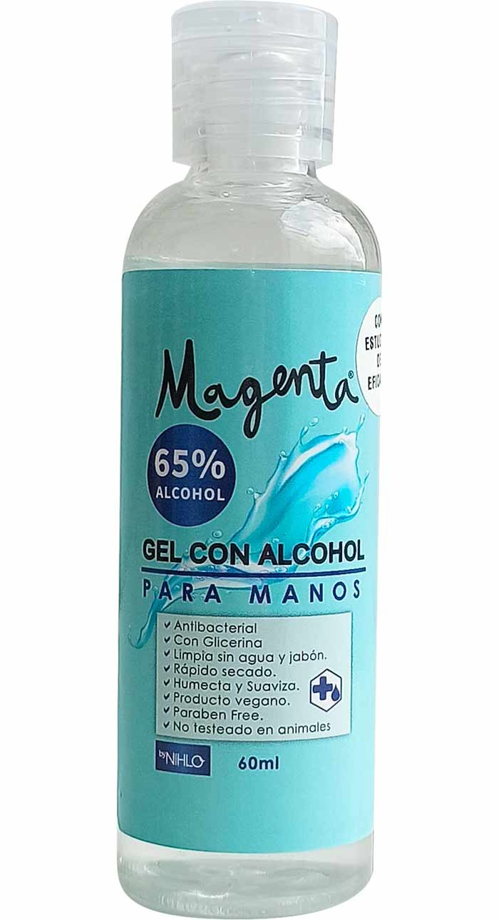 Antibacterial en gel 65% Alcohol Magenta 60 ml