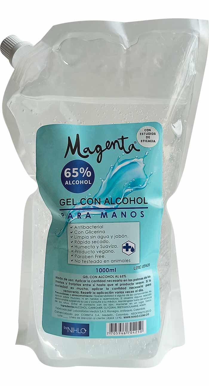 Antibacterial en gel 65% alcohol 1 litro
