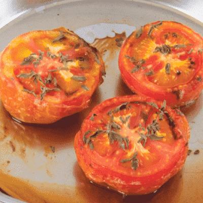 Receta Kalley para tomate confitado al vino tinto